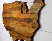 Rustic USA Map Art Lath Art US Map Wall Art Home Decor Lath Map Office Decor Wooden Map Wooden United States Map Rustic US Map Large Map