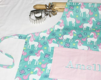 Personalized Unicorn Youth Apron with light pink pocket - made to order