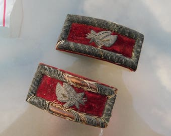 A Pair of Antique Military or Masonic ?  Uniform Epaulette Shoulder Boards for Steampunk or Repurpose