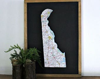 DELAWARE State Map Wall Decor   Framed Art   Vintage Map   Perfect Gift for Any Occasion   Gallery Wall   Small Size