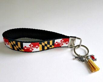MARYLAND State Flag Keyfob   Key Chain Wristlet   Maryland State Flag   Crab Charm   Maryland State   Key holder   Key Fob   Key Chain