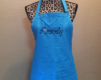 Embroidered Womens Kitchen Apron Personalized FREE Monogram