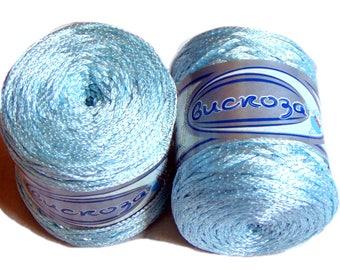 Viscose Silk Yarn shining yarn bright yarn, summer yarn. Yarn Viscosa Island Paradise Blue Sky Blue Turquoise Cadet Blue Baby Boy Blue (107)
