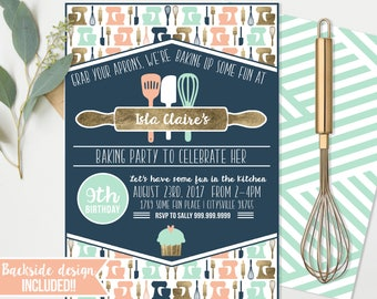 Cooking Baking Birthday Party - Invitations  - Cooking Baking Birthday - Cupcake Party Instant Download and Edit at home