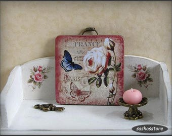 Miniature wall sign, 12th scale, shabby cottage chic decor, dollhouse miniature picture