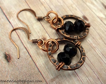 Black and Copper Earrings, Hammered Copper Circles, Boho Earrings, Boho jewelry, bohemian earrings, rustic Copper earrings, Rustic Earrings