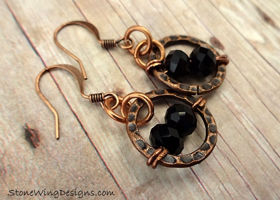 Rustic Boho Black Glass and Hammered Copper Circle Earrings