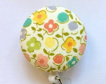 Calico Badge Holder - Floral Badge Reel - Calico Flowers - ID Name Badge - Retractable Reel - Badge Clip - Nurses Gift - Fabric Badge Reel