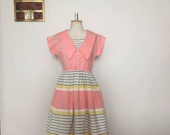 ON SALE Vintage 40s 50s pink pastel summer dress sailorette