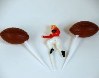 Football Cake Toppers, Vintage Cupcake Picks, Football Player Figurine, Sports Birthday Party, Tailgate Party Decor