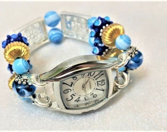 SKY VIEW, Beaded, Interchangeable, Watchband, Swarovski Crystals, School Logo, Stretchy, Band