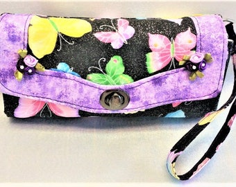 Butterfly Wallet for Women, Clutch NCW Wrist and Shoulder Strap Cotton Purples Black Yellow Pink Green Color Zipper Pocket Purse 8x4x1