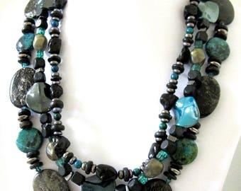 Western Necklace Cowgirl Jewelry Bib 3 Tier Blue Green Black Bling