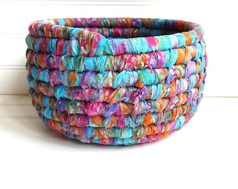 Fabric Coiled Basket, Bright Colors, Batik Fabrics,  Round Storage Basket