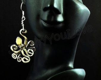 Sterling Silver Octopus Earrings - Cleopatra