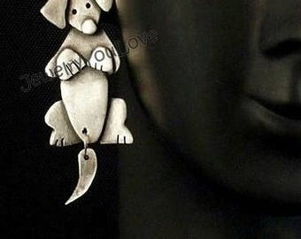 Sterling Silver Dachshund Earrings with dangle tail  - DiDi