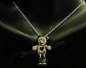 Sterling Silver Teddy Love Bear Necklace
