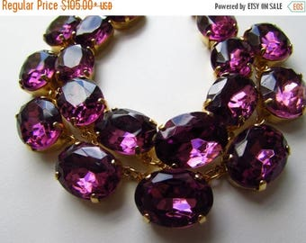 SHIPPING DELAY SALE 10% Purple Statement Necklace, Amethyst Jewelry, Anna Wintour Necklace, Rhinstone Collet Necklace, Georgian Jewelry, Reg