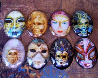 Mardi Gras Masks (L28) Jewelry Making Mixed Lot of 8, Digital Image Under Glass Oval Cabochon, Fantasy Artwork