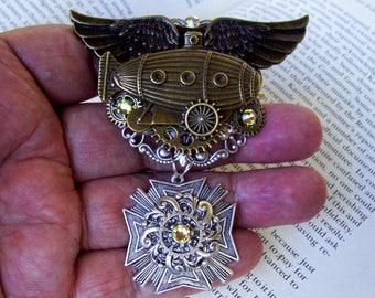 Royal Airship Medal (P736) Steampunk Brooch or Pin, Brass and Silver, Gears, Swarovski Crystals, Tie Tack Pin Backing