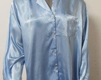 Vintage Bue Pajama Top Oscar de La Renta  Large #079
