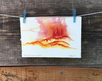 Pines of Alizarin Crimson - Original Watercolor - 4x6.5 inches