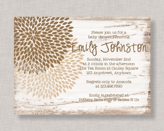 Floral Baby Shower Invitation Rustic Baby Shower Invitation