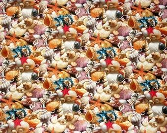 Seashell Fabric, Beach Fabric, Elizabeth Studios, Landscape Melody Collection, Quilting Sewing Fabric, Novelty Fabric, Coastal Fabric