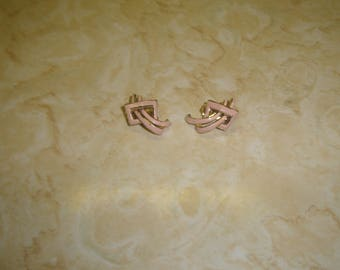 vintage clip on earrings goldtone pink enamel