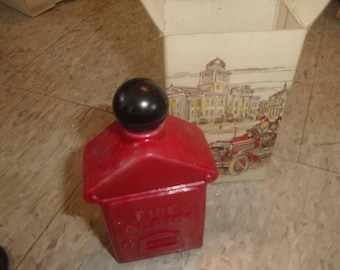 vintage avon perfume bottle fire alarm box electric pre shave lotion unused with box 4 fl oz