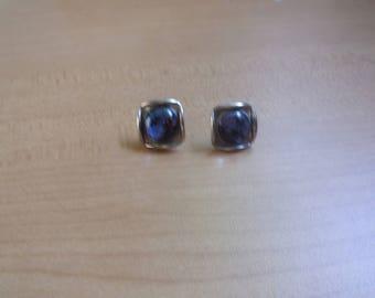 vintage screw back earrings silvertone glass sunset beach palm tree