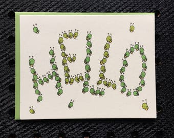 hello bugs card, hello card, kids card, bug card, screen printed card