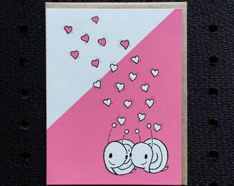 snail + hearts card, valentine card, cute valentine, snail valentine, screen printed valentine
