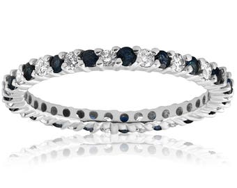 Diamond Wedding Ring Anniversary Thin Pave Band 1/2ct Blue Sapphire Diamond Wedding Band Stackable Eternity Ring 14k White Gold