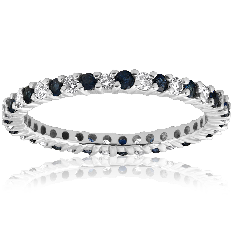 Diamond Wedding Ring Anniversary Thin Pave Band 1 2ct Blue