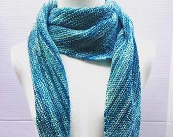 Asymmetrical scarf wool blue multi knitted