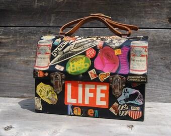 Summer Sale - Handmade 1960's Mod Style Folk Art Decoupage Lunchbox Purse