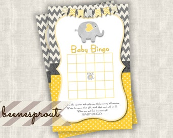 Baby Bingo Party Game Digital Instant Download Yellow and Gray Elephant