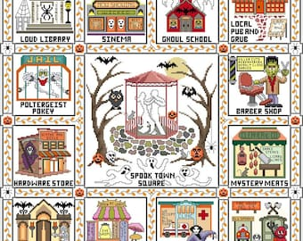 Join our Auto-Ship Club! Pre-order NEW Spooktown Square Stitch-A-Long 4-part SAL cross stitch patterns or Kit by Glendon Place Nashville