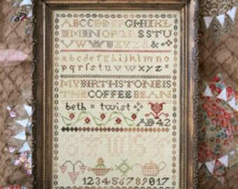 Pre-order 2018 Nashville Market HEARTSTRING SAMPLERY Coffee Bean Sampler cross stitch patterns Magical Elixir Series Part IV 4