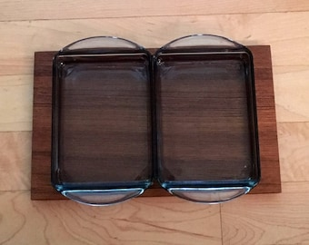 Mid Century Two Compartment Relish Dish Hor D'oeuvres Danish MCM Teak Glass Tray
