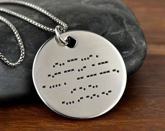 Morse Code Necklace, Morse Code Jewelry, Secret Message Necklace, Hidden Message Necklace, Pendant Necklace - Any text up to 16 Char/Line