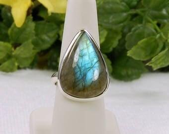 Labradorite Ring, Size 9, Stunning Blue Flash, Large Pear Shape, Natural Labradorite, Spectrolite, Sterling Silver, Large Labradorite