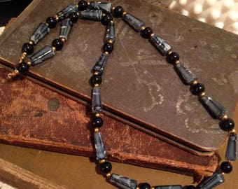 Black and Gray Plastic Beaded Necklace