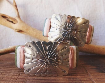 CBC-25, one of a kind, handmade adjustable repurposed vintage southwestern concho cuff bracelet