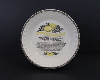 Vintage Lemon Meringue Pie Recipe Pie Plate (E9799)