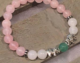 Good Luck Elephant Charm Natural Stone Bracelet