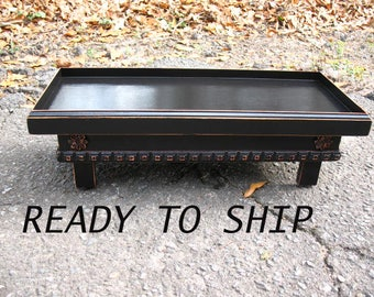 READY TO SHIP, Flat Top Elevated Dog Table, Dog Bowl Feeder, Raised Pet Feeding, Black Pet Dish, Pet Stand, Dog Feeder Station Made To Order