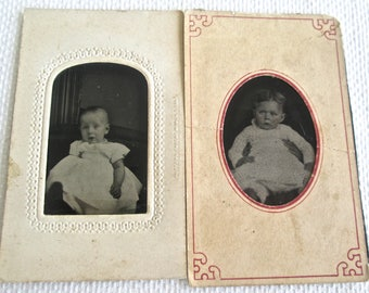 Post Mortem Babies 2 Tintypes One With Hands Holding Her Up