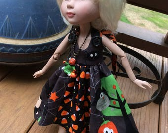"Halloween dress and necklace,  14"" doll clothes, Tonner, Patience"